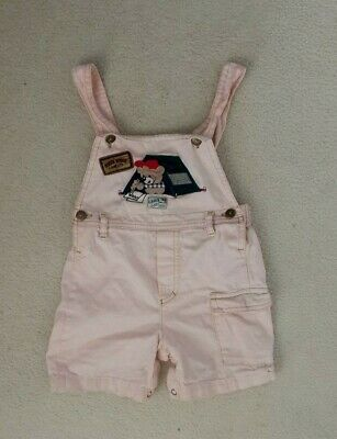 Girls Pink Denim Dungaree Outfit  All In One Shorts Age 4 Years