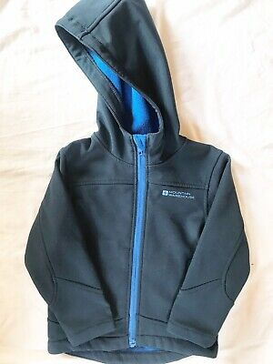 Mountain Warehouse Kids Exodus Softshell Jacket Fleece Lined Hood Boys Girls 3-4