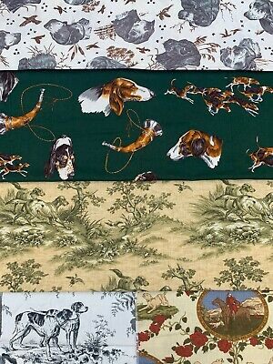 Hunting Dog Fabric LOT Samarcand Hines Alexander Henry Fox Hunt Crafting