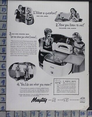 1947 Maytag Washer Laundry Housewife Appliance Home Decor Vintage Art Ad  Cs35
