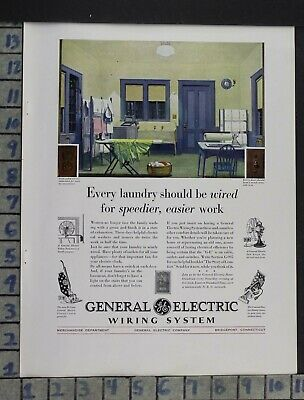 1930 General Electric Laundry Appliance Clean Home Decor Vintage Art Ad Dp54