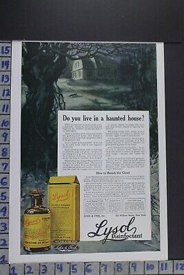 1918 Household Lysol Medical Holiday Halloween Haunted House Vintage Ad Ec049