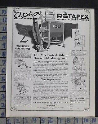 1921 Household Laundry Washer Apex Vacuum Rotapex Electric Vintage Ad Dm98