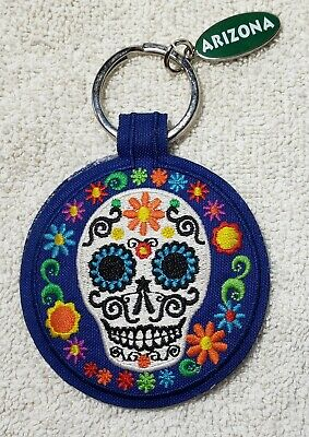 NWOT! Day of the Dead Sugar Skull ARIZONA Key Chain embroidered Blue Multicolor