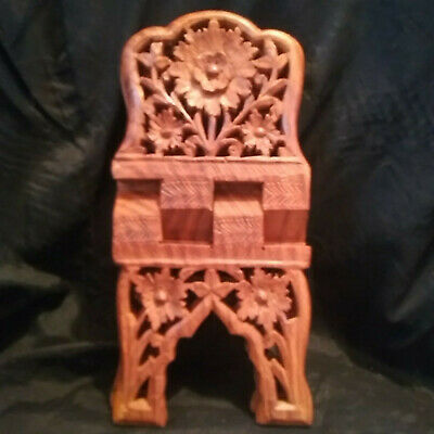 Folding Carved Sheesham Wooden Book/Bible/Cookbook Holder Stand India~Flower