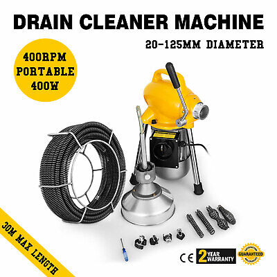 Ø20-100mm 500W Pipe Drain Cleaner Cleaning Machine 5mx9.5mm 20mx16mm Spirals