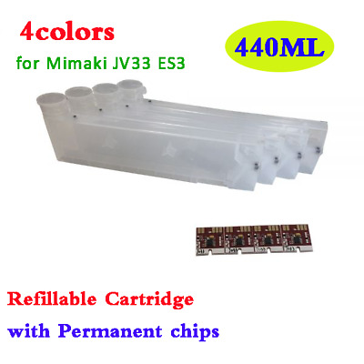 440ML Refillable Ink Cartridge with Permanent Chip for Mimaki JV33 ES3 CMYK