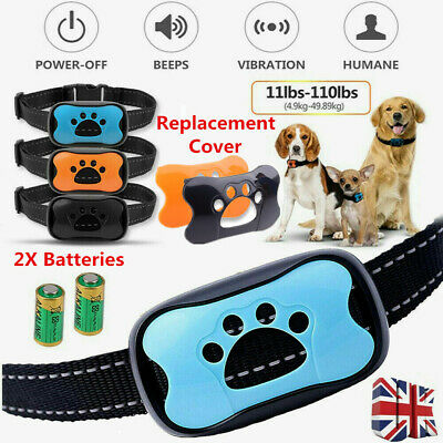 Anti Bark Dog Collar Stop Barking Sound & Vibration Adjustable S/M/L LED 3 Shell