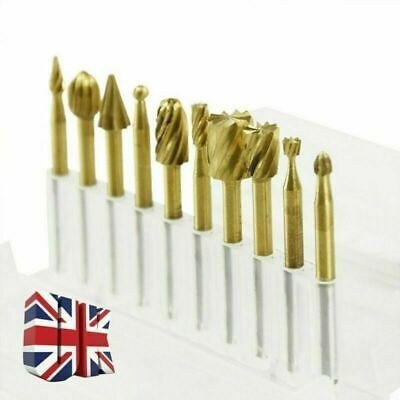 Dremel accessories- 10pcs HSS Router Grinding Burr Wood Rotary Files Set UK