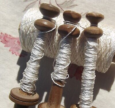 Set Vintage French Wood Bobbins Lace Making Spools Wooden Wedding Thread