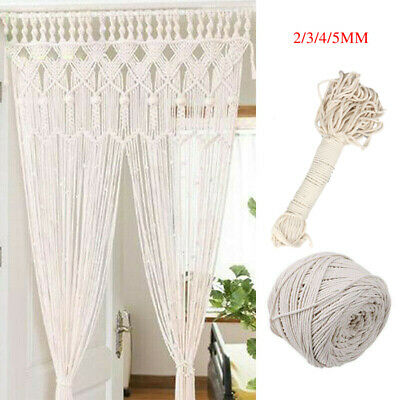 Natural Beige Cotton 2/3/4/5mm Twisted Cord Rope Artisan Macrame String DIY