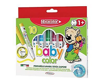 Fibracolor Baby Color Pack of 10 Safety Tip Markers Superwashable with Water ...