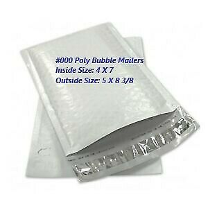 #000 4x8 POLY BUBBLE MAILERS SHIPPING MAILING PADDED BAGS ENVELOPE  5 -1000 pcs