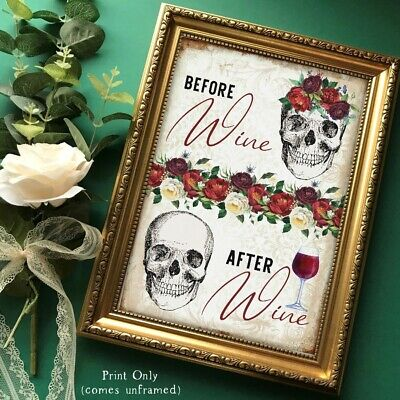 Skull Funny Wine Wall Art Print Picture Gothic Gift Home Decor UNFRAMED Red Rose