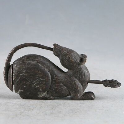 Exquisite Collectibles Chinese Old Style Bronze Handmade Mouse Lock With Key