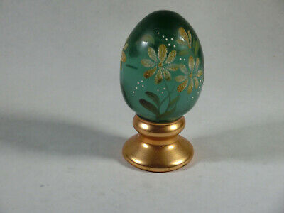 Antique Glass and Brass Handpainted Egg (470)