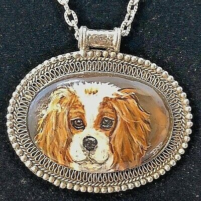 Blenheim Cavalier Handpainted Detachable Pendant On Silvertone Chain Necklace