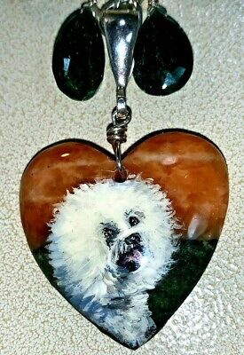 Bichon Frise hand painted Dog pendant on a silver Necklace w/ black onyx drops