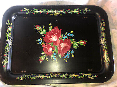 Vtg Shabby Tole Painted Floral Rose Black Metal Folding Bed Tv Tray