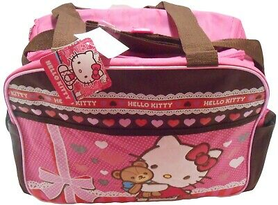 Sanrio Hello Kitty Crossbody Shoulder Diaper Bag Pink With Chocolate Brown Trim