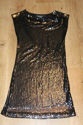 Signature NEXT girls dress posh sparkly sequins  age 10 years party short black