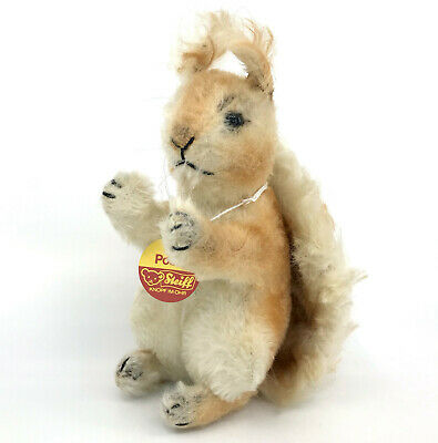 Steiff Possy Squirrel Mohair Plush 22cm 9in ID Chest Tag 1960s Vintage