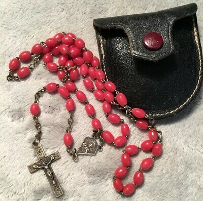 Red Glass Silver Metal Antique Art Deco 30s Rosary Beads With Leather Pouch
