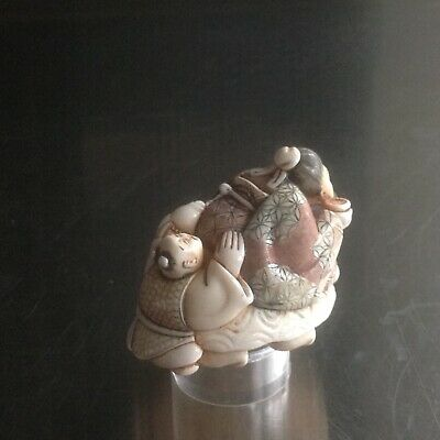 """Authentic Asian Carving Figure Netsuke """"Bovine"""" Signed Must See"""