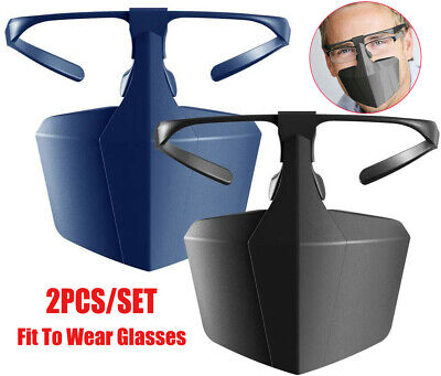 2pcs/Set Face Mouth Shield Protection Glasses Wearable Anti-Saliva Dust-Proof