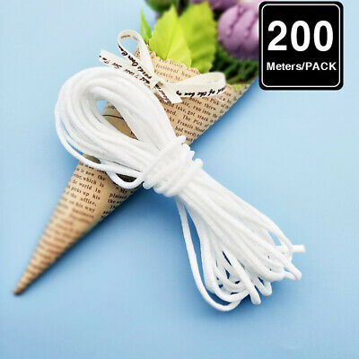 100/200m 1/8 inch Braided Elastic Band White Elastic Cord Knit Rope Sewing DIY