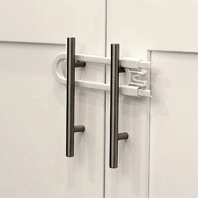 Child Safety Sliding Cabinet Locks (4 Pack) - Baby Proof Knobs, Handles, Doors -