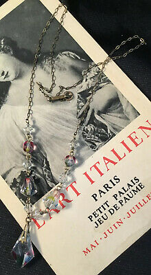 Art Deco rainbow spindle Crystal Bead Rolled Gold Lariat Necklace
