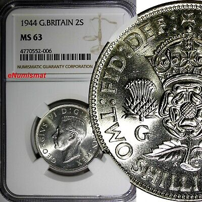 GREAT BRITAIN George VI Silver 1944 Florin /2 Shilling NGC MS63 WWII Issue KM855