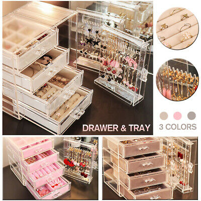 6 Drawers Makeup Holder Jewellery Case Box Storage Organiser Acrylic UK SELL