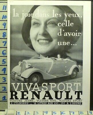 1934 Renault Car French Vogue Woman Sport Auto Motor  Photo Ad  Ab20