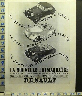 1937 Renault Cabriolet French Car Auto Sport Motor Travel    Ab81