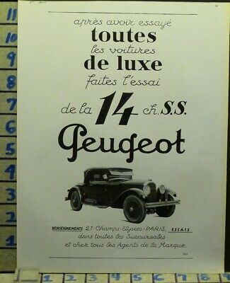 1927 Peugeot Car Auto French Vogue Sport Motor Travel  Photo Ad  Ab21