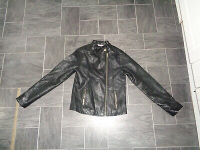 girls black faux leather lightweight jacket- age 11-12 years- spring/summer