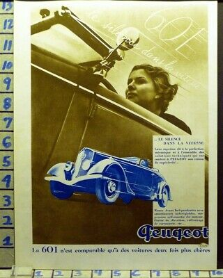 1935 Peugeot Race Speed Car Auto Sport Women French  Photo   Ab46