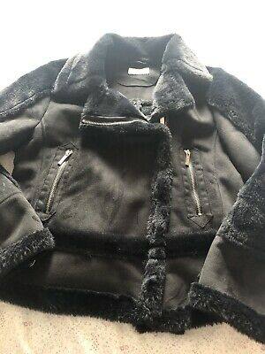 Girls Lipsy Faux Suede Fur Black Jacket Age 12