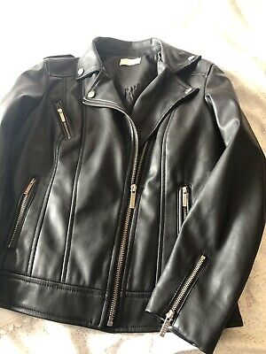 Lipsy Girls Black Leather Look Jacket Age 12