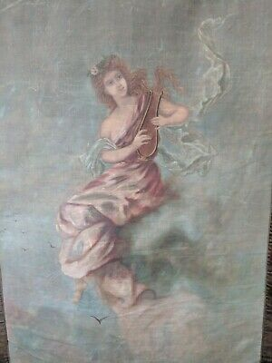 Antique Romantic Hand Painted Tapestry Wall Hanging Goddess Harp Painting
