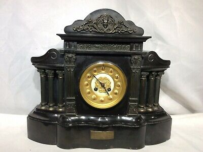 Antique VICTORIAN BLACK SLATE & MARBLE MANTLE CLOCK French Striking Movement