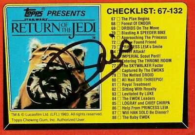 Warwick Davis Autographed Star Wars Trading Card. Authenticated.