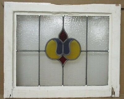 "OLD ENGLISH LEADED STAINED GLASS WINDOW Pretty Purple Tulip 21.75"" x 17.75"""