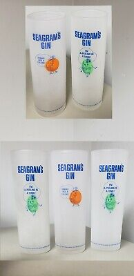 5~Seagrams Gin~BAR GLASS~FROSTED ORANGE COLLINS& LIME PEEL TONIC COCKTAIL~TALL