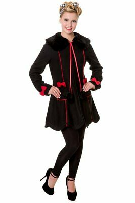 Banned Apparel Red Riding Hood Corset Teddy Bear Ears /& Bows Wool Coat Jacket