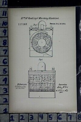 1871 Mccord Sing Sing Ny Washing Machine Laundry Industry Patent Litho 117188