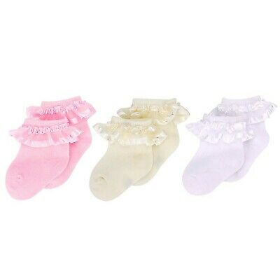 3 Pack White Frilly Socks 3 Pairs Baby Girl Lace Top Cotton Socks for Newborn...