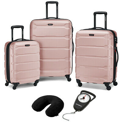 Samsonite Hardside Luggage Nested Spinner Set of 3 Pink with Travel Kit